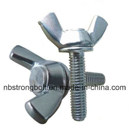 DIN316 Wing Screw con cinc blanco plateado Cr3 + acero al carbono / acero inoxidable / China ala tornillo fábrica, fabricante de tornillo de China